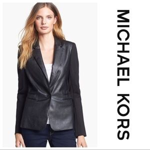 Michael Kors faux leather front black blazer sz 8
